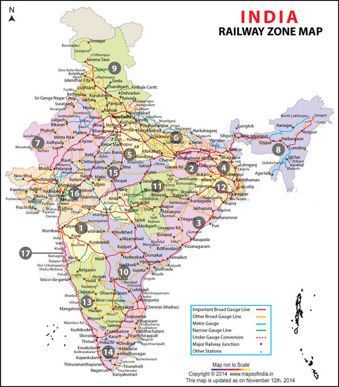 indian train route map Indian Railways Zones Map Rrb Exam Portal Indian Railways Jobs indian train route map
