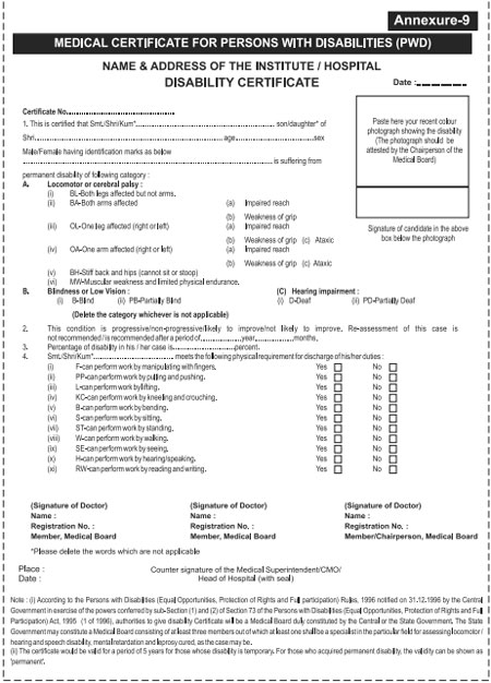 Rrb : Download Forms - Medical Certificate For Persons With