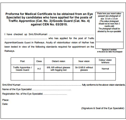 Rrb Ntpc Exam Document Verification Forms : Medical Certificate